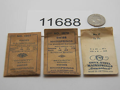 Vintage Watch Parts LOT OF 3 Mainsprings SWISS 11688