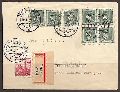 """CZECHOSLOVAKIA. 1939. REGISTERED COVER TO MADIERA-PORTUGAL. WITH 7x 50h WITH """"PR"""