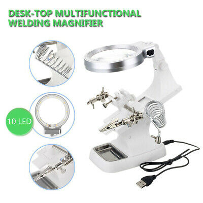 3rd Helping Hand LED Magnifying Soldering Iron Stand Lens Magnifier AU Stock