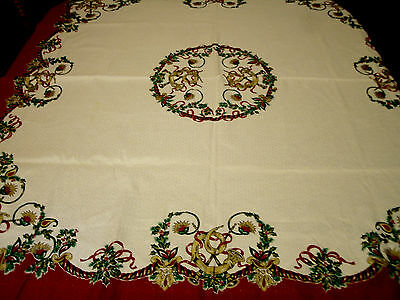 Vintage Horns and Ribbons Square Christmas Tablecloth