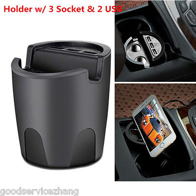 Universal 3USB Port+2 Cigarette Expansion Output Charger Mobile Cup Mount Holder