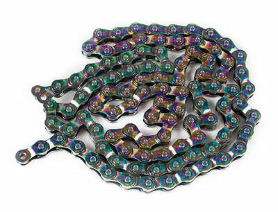 NEW Salt Warlock Oil Slick Half Link Chain Jet Fuel BMX Chain 1/8 Rainbow
