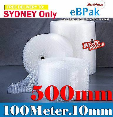 6 rolls of 500mm x 100M Bubble Wrap Roll Bubblewrap 10mm Bubbles