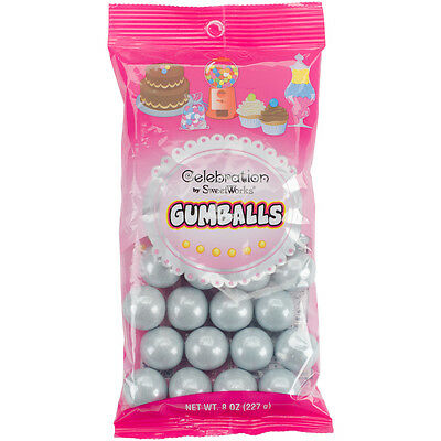 Celebrations By Sweetworks Gumballs 8oz-Shimmer (TM) Silver