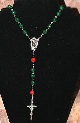NEW* FAUX MALACHITE and RED BEAD LADY OF GUADALUPE ROSARY HANDMADE BY NUN