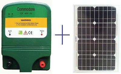 Solar Electric Fence Energiser 4 Joule 40km + 20W Solar Panel