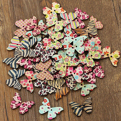 Hot 50pcs Multicolor Wood Natural Butterfly Sewing Scrapbook Craft Decor Buttons