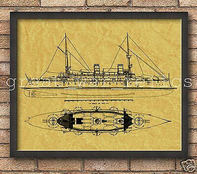 USS Olympia (C-6) United States NAVY - PATENT ART POSTER - Wall hanging art -