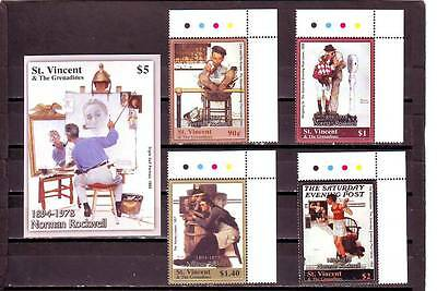 a102- ST VINCENT - SG5358-MS5362 MNH 2004 25th DEATH ANNIV NORMAN ROCKWELL