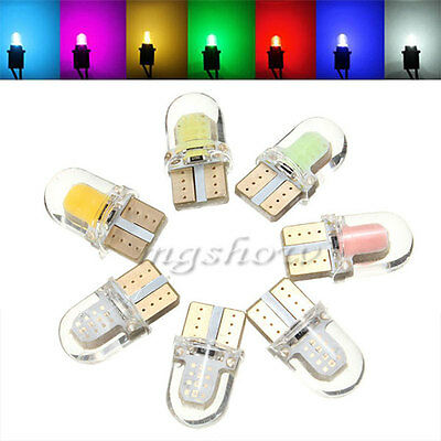 2/10x T10 194 501 W5W COB 8 SMD Silicone LED Car Interior Side Number Light Bulb