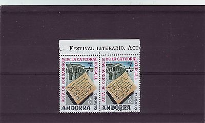 ANDORRA - SG94 MNH 1975 PAIR110th ANNIV OF CONSECRATION OF URGEL CATHEDRAL