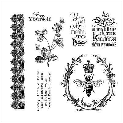 "Darcie's Cling Mounted Rubber Stamp 3.75""X4""-Meant To Bee"