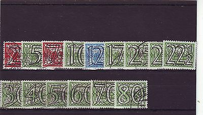 NETHERLANDS - SG522-536 FINE USED 1940 SURCH W/ LARGE FIGURES 15v ALL DIFFERENT
