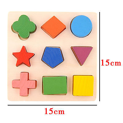 Early  Kids Baby Learning Math Geometry  Wooden  Preschool Toy  Block Puzzle