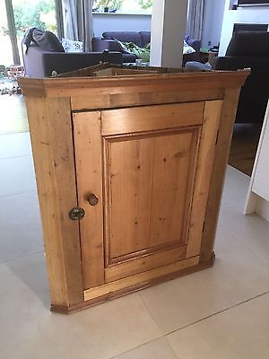 Country Cottage Solid Pine Corner Wall Cabinet with interior shelf
