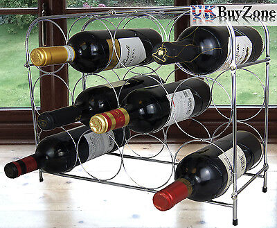 3 Tier Chrome Wine Storage Display Rack Holder Stand 12 Bottles