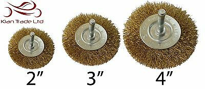 Wire Wheel Brush Brass 6Mm Shank Clean Rust Paint Drill Polish Buff Grinder