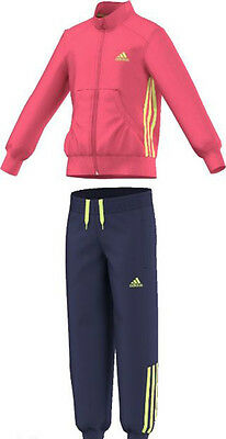 Size 9-10 Years Old - Adidas Originals 3 Stripes Full Tracksuit - Pink / Navy