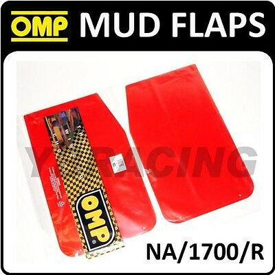 NA/1700/R OMP RACING RALLY MUD FLAPS 50x30mm in RED POLYETHYLENE 1.5mm 1 PAIR