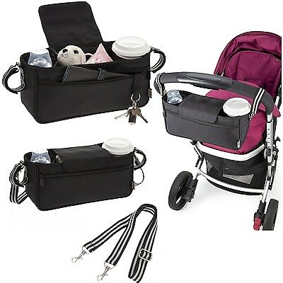 Polar Gear Pram Organiser with Shoulder Strap, Zip Pocket, Bottle & Cup Holders