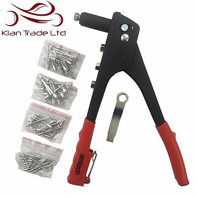 Rivet Gun + 60 Rivets - Hand Riveter Pop Rivnut Nozzles Hand Tool Kit Diy Safety