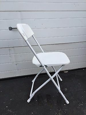 Used (10) White Plastic Folding Chairs Commercial Quality Stackable Chair