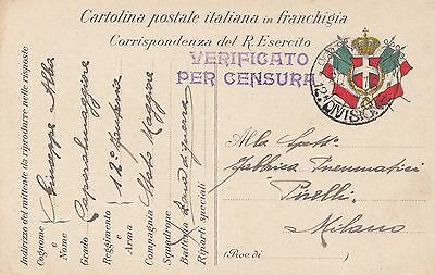 ITALY  (002) 1916 military card - canc. POSTA MILITARE 12 DIVISIONE  to ITALY