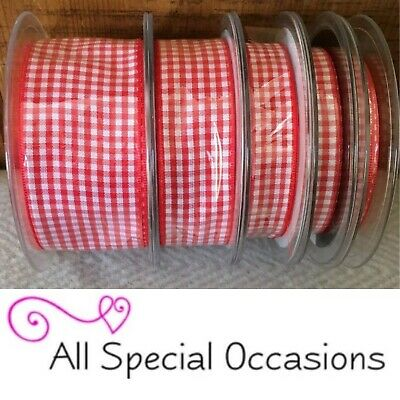 QUALITY Berisfords 7391 Gingham Red Colour 15 Ribbon Small Check 5mm CHRISTMAS