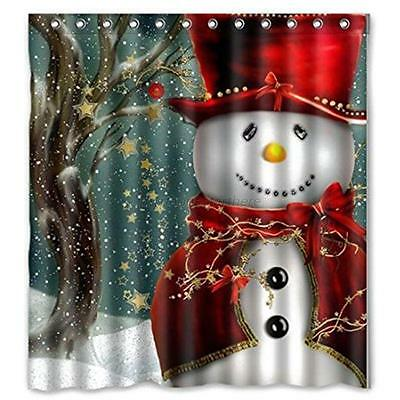 Christmas Waterproof Bathroom Fabric Shower Curtain Snowman Santa With 12 Hooks