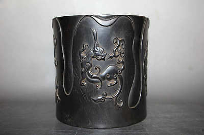 Chinese old zi tan wood carve dragons brush pot