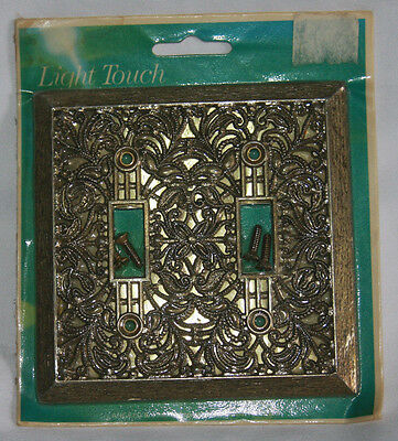 Vintage Metal Light Switch Plate Cover Floral Design Double New Sealed Old Stock