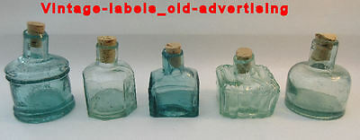 5 Different Old Antique Aqua Shearlip Ink  Bottles - 5 Diff Shapes