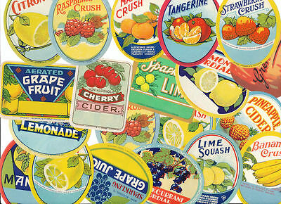 Collection Vintage Old Tooty Fruity Soft Drink Pop Labels Top Selection Freepost