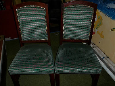 ONE vintage upholstered dining chair dark wood green fabric studded backs