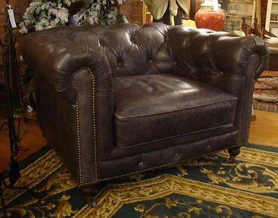 Chesterfield Leather Club Sofa Armchair - Distressed Grey Colour