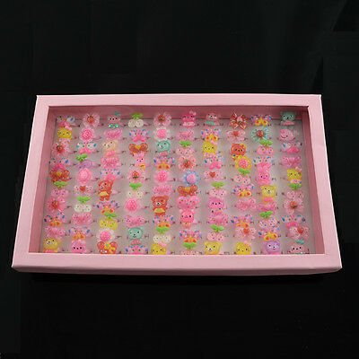 100pcs/box Cute Jewelry Plastic Kids Rings for Girls with Mixed Resin Cabochons