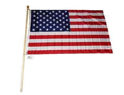 5 Foot Wooden Flag Pole Kit Wall Mount Bracket With 3x5 USA American House Flag