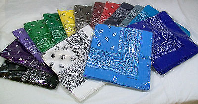 Wholesale Lot 100% Cotton Paisley Print Bandanas - 15 Colors - 22 x 22 Bandanas