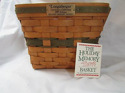 Longaberger Christma Collections 1989 Edition Holdiay Memory Basket - Green