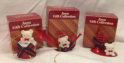 Avon Gift Collection Christmas Ornament Teddy Bear Musical Instrument Set Of 3