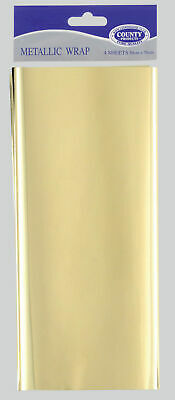 Metallic Wrap Gold 4 sheets 50cm x 75cm - Gift Wrapping Paper Foil Presents