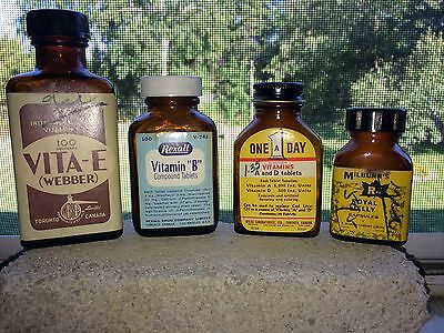 Lot Of 4 Vintage Amber Vitamin And Supplement Bottles - Toronto. Canada.