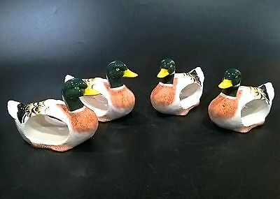 Vintage Ceramic Mallard Ducks Shaped Napkin Ring Holders Hand Painted - Set Of 4