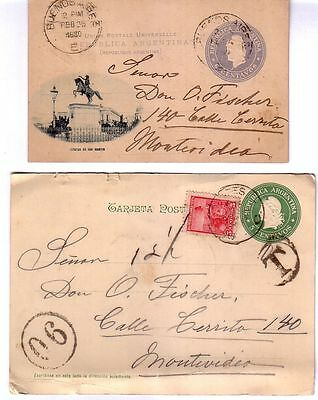 Argentina -  Two 1900 Postal Stationery Cards To Montevideo, One Taxed
