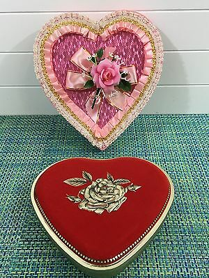 LOT OF 2 VTG Valentine Heart Shaped Candy Box Lace Ribbon Flowers & METAL TIN