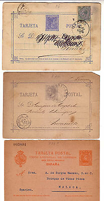 Spain 1876/1900´s - Lot Of Three Circulated Postal Stationery Cards