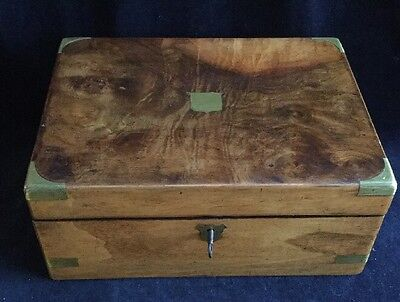 Vintage Antique Walnut & Brass Writing Slope with Key and Ink Bottles