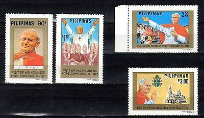 PHILIPPINES STAMPS- John Paul II, visit, set + block,1981 (MNH)