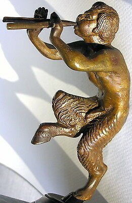 Antique Unsigned Bronze Sculpture SATYR PAN FLUTE PIPES Marble Plinth