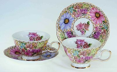 Royal Devonshire  Belle Fleur Flower Teacup Tea Cup and Saucer Pair China